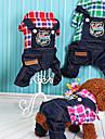 Chien Combinaison-pantalon Vetements pour Chien Britannique Fuchsia Rouge Vert Toile de jean Duvet Costume Pour les animaux domestiques