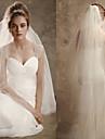 Voal de Nuntă Două Straturi Voaluri de Obraz Voaluri Lungi Până la Cot Margine Tăiată Tulle