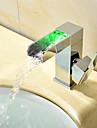 Nutida Modern Stil LED Centerset Vattenfall Keramisk Ventil Singel Handtag Ett hål Krom, Badrum Tvättställ Kran