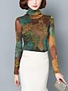Pentru femei Guler Pe Gât Mărime Plus Size Bluză Dantelă Plasă Imprimeu Peteci Poliester Spandex