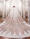 Un nivel Voal de Nuntă Voaluri de Catedrală Cu Mărgele Aplică Dantelă Tulle