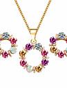 Pentru femei Cristal Set bijuterii - Cristal Floare Dulce, Elegant Include Cercei Stud / Coliere cu Pandativ Curcubeu Pentru Nuntă / Petrecere / Zi de Naștere / Σκουλαρίκια