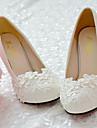 Femme Chaussures Dentelle Polyurethane Printemps Automne Confort Chaussures de mariage Bout rond Strass Applique Billes Imitation Perle