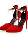 Damă Pantofi Piele nubuc Primăvară Toamnă Confortabili Noutăți Tocuri Vârf ascuțit Cataramă Pentru Nuntă Party & Seară Negru Rosu
