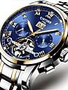 Bărbați ceas mecanic Swiss Calendar / Cronograf / Rezistent la Apă Bandă Lux / Casual / Modă Negru / Argint / Mecanism automat / Gravură scobită
