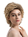 Perruque Synthetique Boucle Coupe Degradee Racines foncees Cheveux Colores Marron Femme Sans bonnet Perruque Naturelle Court Cheveux