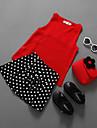 Fete Set Îmbrăcăminte Mată Buline Bumbac Poliester Vară Fără manșon Casual Roșu-aprins