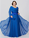 Sheath / Column Cowl Neck Floor Length Chiffon Mother of the Bride Dress with Crystal Detailing Criss Cross by LAN TING BRIDE®