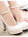 Pentru femei Pantofi PU Primăvară Toamnă Confortabili Balerini Basic Tocuri Toc Înalt pentru Casual Alb Negru Rosu Kaki