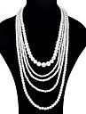 Pentru femei Coliere Layered - Imitație de Perle Modă, Supradimensionat Alb Coliere Pentru Ceremonie, Bal