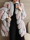Pentru femei Mărime Plus Size Palton Piele Ieșire Șic Stradă - Bloc Culoare Blană Artificială / Toamnă / Iarnă
