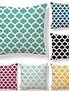 6 buc Textil Bumbac/In Față de pernă, Buline Carou/Striat Geometric