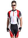 Nuckily Herr Kortärmad Triathlondräkt - Röd Geometrisk Cykel Anatomisk design, UV-Resistent, Andningsfunktion Polyester / Elastan