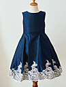Ball Gown Knee Length Flower Girl Dress - Satin Sleeveless Jewel Neck with Buttons Lace Belt by LAN TING Express