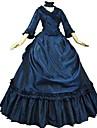 Victoriansk Rokoko Kostym Vuxna Maskerad Festklädsel Bläck blå Vintage Cosplay Taft 3/4 ärm Puff Svepsläp