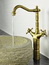 Antique Bar / accessoires Montage Soupape ceramique 1 trou Deux poignees un trou Laiton Antique, Robinet de Cuisine
