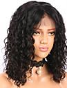 Äkta hår Spetsfront Peruk Brasilianskt hår Lockigt Vattenvågor Kort Bob Bob-frisyr 130% Densitet Med Babyhår limfria Mittbena Naturlig