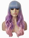 Syntetiska peruker Vågigt Kroppsvågor Ombre-hår Med lugg Utan lock Lila Rosa Halloween Paryk Partyperuk Lolita peruk Cosplay Peruk