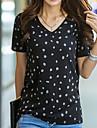 Pentru femei În V Tricou Zilnic De Bază Buline Manșon scurt Bumbac Vară Negru Gri S M L XL XXL
