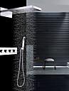 Contemporan Montaj Perete Duș Ploaie Cascadă Duș De Mână Inclus Termostatic Valvă Ceramică Patru Mânere trei găuri Crom, Robinete de Duș