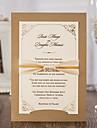 Card Plat Invitatii de nunta 20 - Invitații Stil modern Hârtie Reliefată Panglici