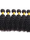 6 pakker Brasiliansk haar Kroellet 10A Ubehandlet haar Menneskehaar Vevet 8-26 tommers Natur Svart Haarvever med menneskehaar Hairextensions med menneskehaar