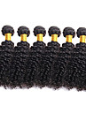 6 Bundler Brasiliansk hår Krøllet 10A Jomfruhår Menneskehår, Bølget 8-26 inch Natur Sort Menneskehår Vævninger Menneskehår Extensions