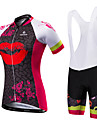Malciklo Women\'s Short Sleeve Cycling Jersey with Bib Shorts Red / White Black / Red British Plus Size Bike Jersey Bib Tights Breathable Quick Dry Anatomic Design Ultraviolet Resistant Reflective