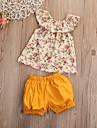 Fete Sport Ieșire Floral Set Îmbrăcăminte, Bumbac Vară Fără manșon Draguț Activ Galben