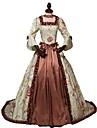 Rokoko Victoriansk 18. aarhundre Kostume Dame Kjoler Brun Vintage Cosplay Fest Skoleball 3/4 ermer Splitt Ballkjole / Blomstret