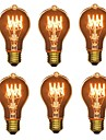 6pcs 40W E26/E27 A60(A19) Alb Cald 2200-2700 K Retro Intensitate Luminoasă Reglabilă Decorativ Incandescent Vintage Edison bec 220V-240V V