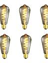 6pcs 40W E26/E27 ST64 Varmvit 2200-2700 K Kontor/företag Bimbar Dekorativ Glödande Vintage Edison glödlampa 220V-240V V