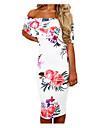 Pentru femei Ieșire Șic Stradă Bodycon Rochie - Ruched, Floral Bateau Lungime Genunchi Alb / Primăvară / Vară / Modele florale