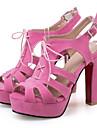 Pentru femei Pantofi Piele nubuc Primăvară / Vară Confortabili / Noutăți Sandale Toc Îndesat Pantofi vârf deschis Cataramă Galben / Verde