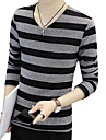 Men\'s Basic T-shirt - Striped V Neck / Long Sleeve / Spring