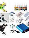 Tattoo Machine Starter Kit 3 steel machine liner & shader 1 alloy machine liner & shader Voltage Adjustable Mini power supply 1 x