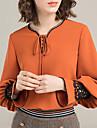 Mulheres Blusa - Feriado Basico Renda, Solido Decote V Laranja L / Verao / Com Laco
