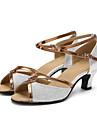 בגדי ריקוד נשים נעליים לטיניות נצנצים עקבים עקב מותאם מותאם אישית נעלי ריקוד זהב / שחור / כסף / בבית / עור