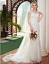 Linia -A De Pe Umăr Trenă Court Dantelă / Tulle Made-To-Measure rochii de mireasa cu Mărgele / Perle de LAN TING BRIDE® / Iluzie / Royal Style