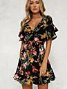 Pentru femei Simplu Sleeve Flare Teacă Rochie - Imprimeu, Floral Sub Genunchi