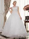Salon Joya Hasta el Suelo Encaje sobre tul Vestidos de novia hechos a medida con Cuentas / Apliques por LAN TING BRIDE® / Espalda Abierta