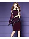 Pentru femei Mărime Plus Size Ieșire Sofisticat Șifon Rochie - Paiete, Culoare solidă Lungime Genunchi
