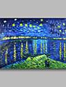 Hang-ζωγραφισμένα ελαιογραφία Ζωγραφισμένα στο χέρι - Αφηρημένο Τοπίο Σύγχρονο Περιλαμβάνει εσωτερικό πλαίσιο / Επενδυμένο καμβά
