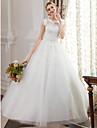 Salon Joya Hasta el Suelo Encaje sobre tul Vestidos de novia hechos a medida con Cuentas / Apliques por LAN TING BRIDE®
