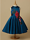 Ball Gown Short / Mini Flower Girl Dress - Lace Satin Sleeveless Jewel Neck with Appliques Bow(s) Sash / Ribbon by LAN TING Express
