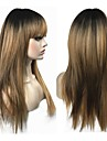 Synthetische Peruecken Glatt Gold Stufenhaarschnitt Blond Synthetische Haare Damen 100% kanekalon haare Gold Peruecke Lang Kappenlos StrongBeauty
