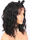 Perruque Cheveux Naturel Remy Full Lace Cheveux Bresiliens Ondulation Bob Coupe Carre Court Bob 130% avec des cheveux de bebe Ligne de Cheveux Naturelle Noeuds blanchis Noir Naturel Marron fonc