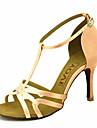 בגדי ריקוד נשים נעליים לטיניות / ריקודים סלוניים סטן סנדלים / עקבים ריינסטון / אבזם מותאם אישית נעלי ריקוד צהוב / פוקסיה / סגול