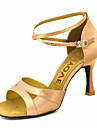 סנדלי נעלי סאטן עליון הריקוד לטיני נשים מותאמות אישית של עם Buckie