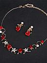 Mujer Diamante sintetico Hebra Unica Conjunto de joyas Amor Elegante Incluir Collares Declaracion Rojo Para Boda Fiesta